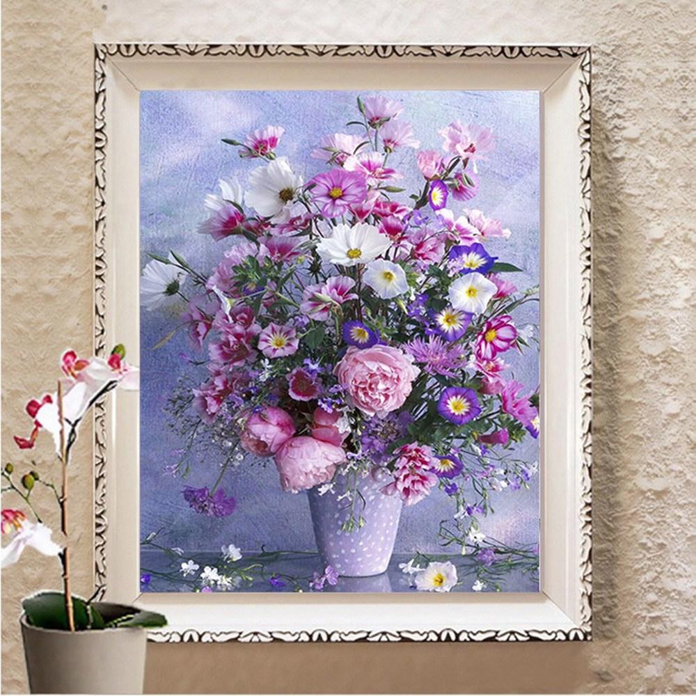 퍼플 꽃병 풍경 큐빅 비즈 보석 십자수 만들기 세트 집에서 할 수 있는 취미, 60x75