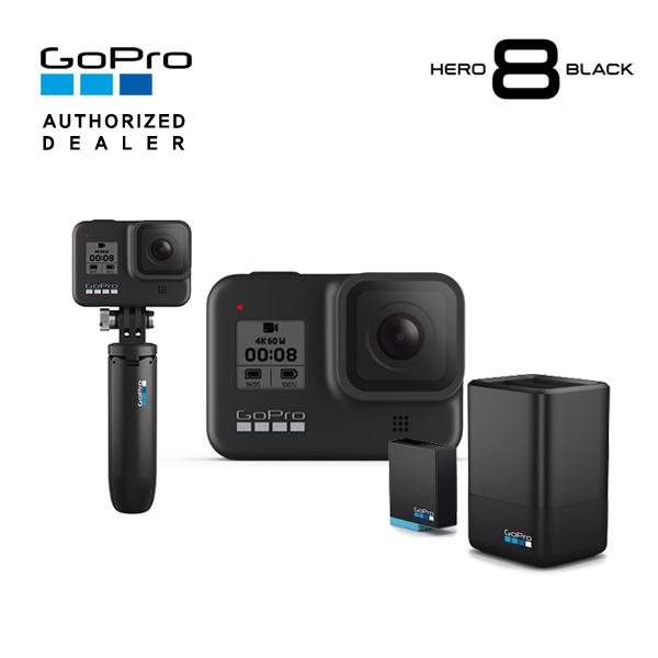 [GoPro] 고프로 HERO 8 Black 히어로 8 블랙 액션캠+신형 듀얼 배터리 충전기+배터리 킷+쇼티(미니 익스텐션 폴+삼각대), 단품