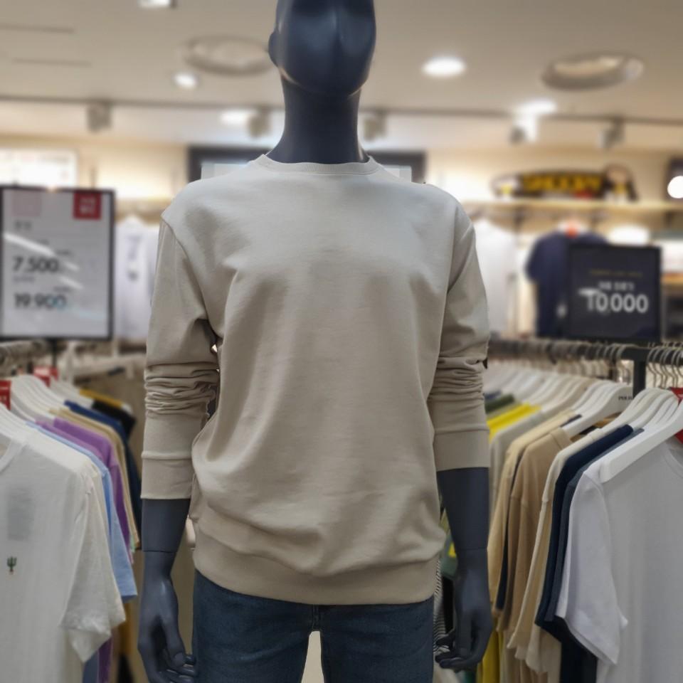 폴햄 남녀공용 오버핏 쭈리 무지 긴팔 맨투맨 티셔츠 PHA3TR3010 베이지(BE)