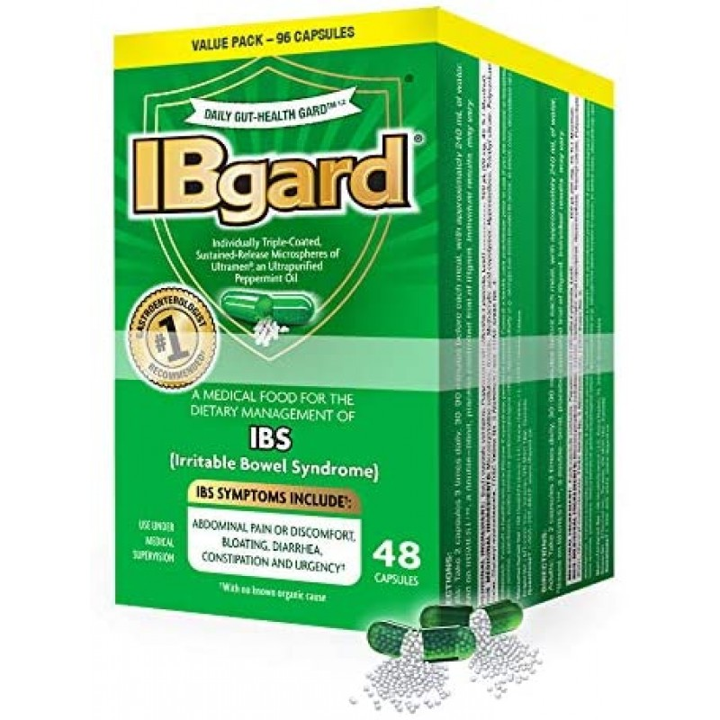 과민성 대장 증후군 (IBS) 증상의식이 관리를위한 IBgard® 복통 팽만감 설사 변비 † * 96 캡슐, 1