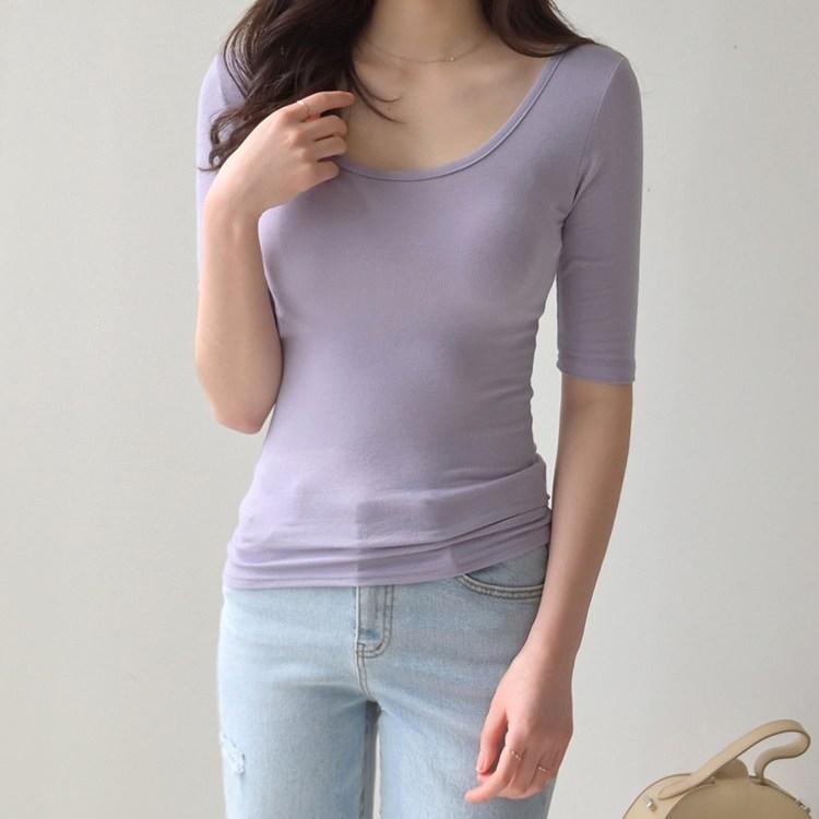 데일리앤 일랑 여자 슬림핏 U넥 이너 무지 5부 티셔츠