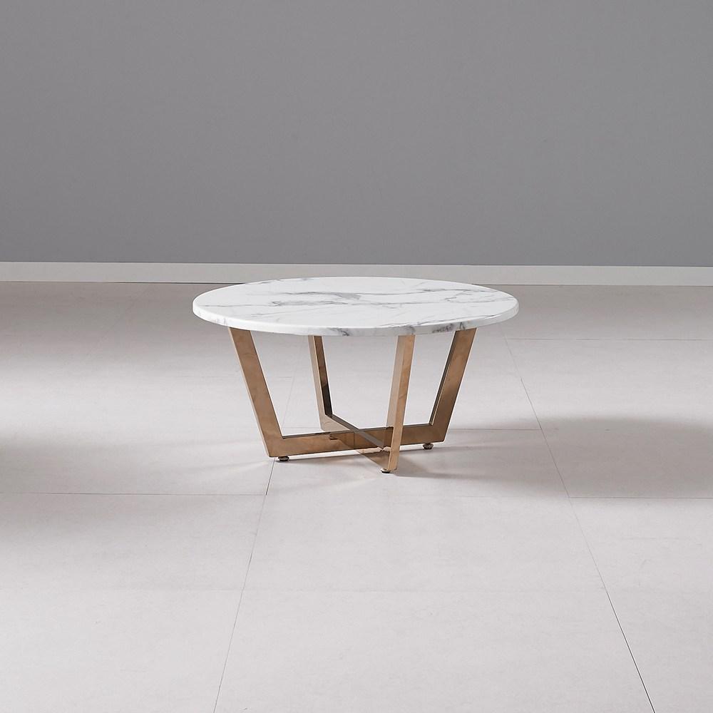 퍼니츠 폴라 인조대리석 700 원형 낮은티테이블 좌탁 소파 거실테이블 좌식 테이블, 폴라700원형테이블_화이트마블