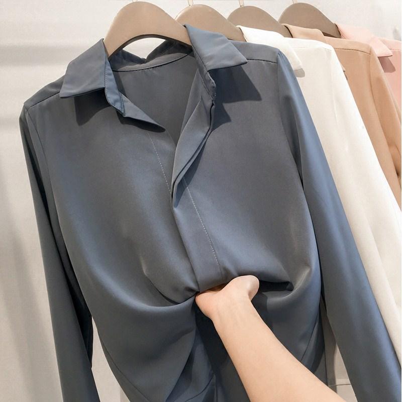 여성 겨울 블라우스 쉬폰 셔츠 가을과 플러스 두꺼운 벨벳 디자인 감각 틈새 빛