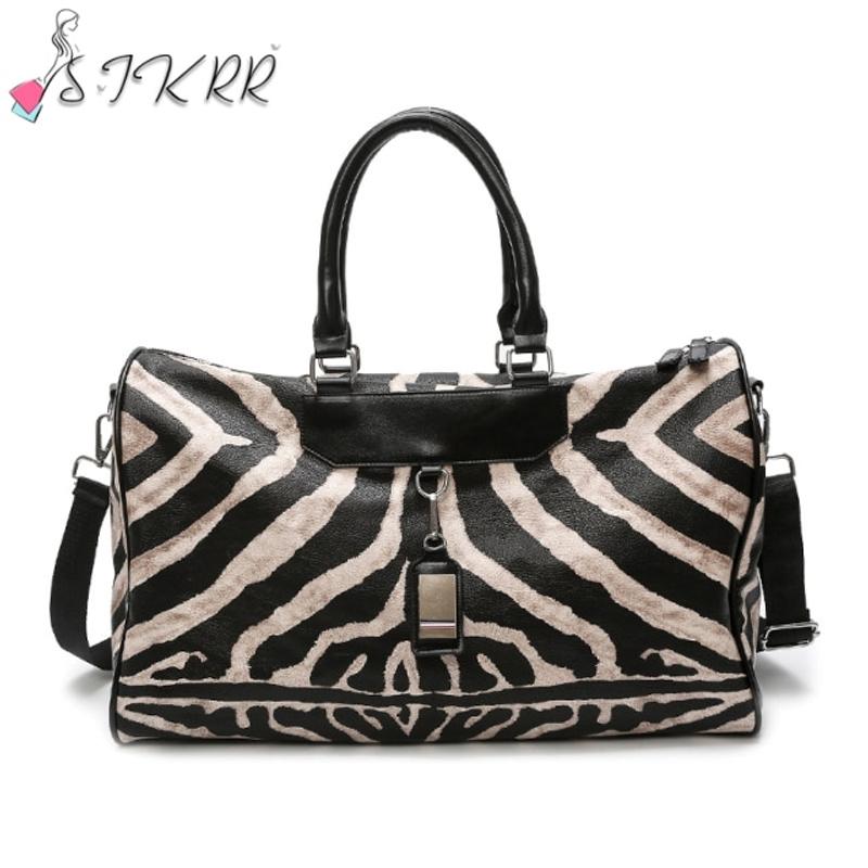 S.IKRR 패션 여행 가방 핸드 러지 지브라 패턴 토트 백 여성용 크로스 바디 대용량 여성용 가방 가죽 위켄더