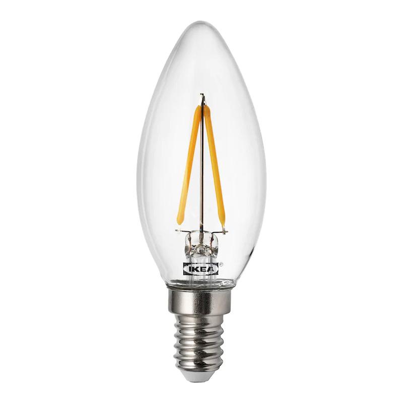 [이케아] 80416458 RYET 뤼에트 LED전구 E14 200루멘 샹들리에 투명, 단품, 단품
