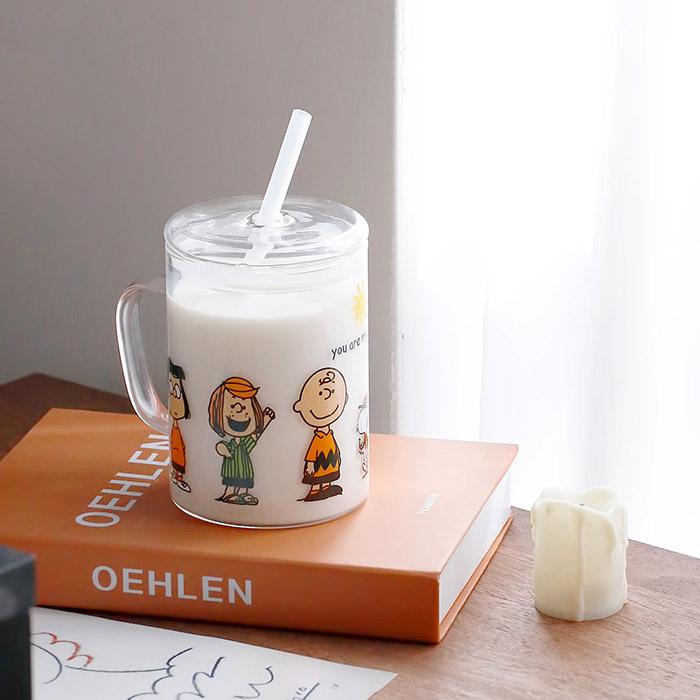 스누피프렌즈 유리컵 유리텀블러 500ml, 유리컵+실리콘빨대+뚜껑 세트상품