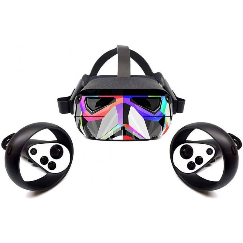 ZQEDY VR 헤드셋 스티커 피부 스티커 제거가 쉬운 보호 VR 헤드셋 스티커로 오큘러스 퀘스트, 단일옵션