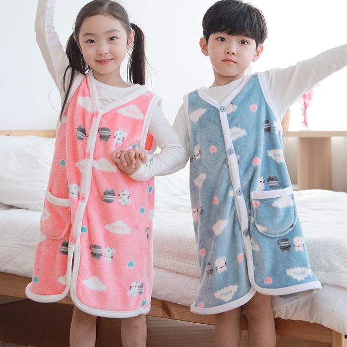 [혀니미니] 100820 남자여자 아동잠옷 조끼 수면바지 울트라밍크 스판