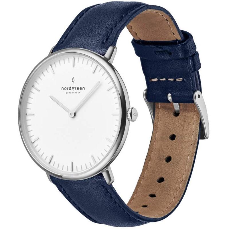 노드 그린] Nordgreen 시계 유니섹스 시계 Native 실버 40mm 북유럽 디자이너 시계 네이비 가죽 스트랩
