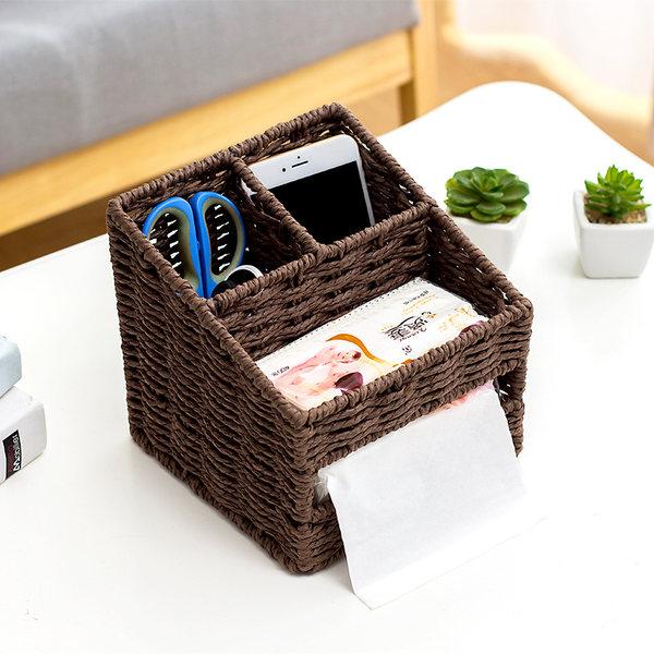 라탄공예 테이블정리 리모콘보관 다용도 바구니, 커피 색