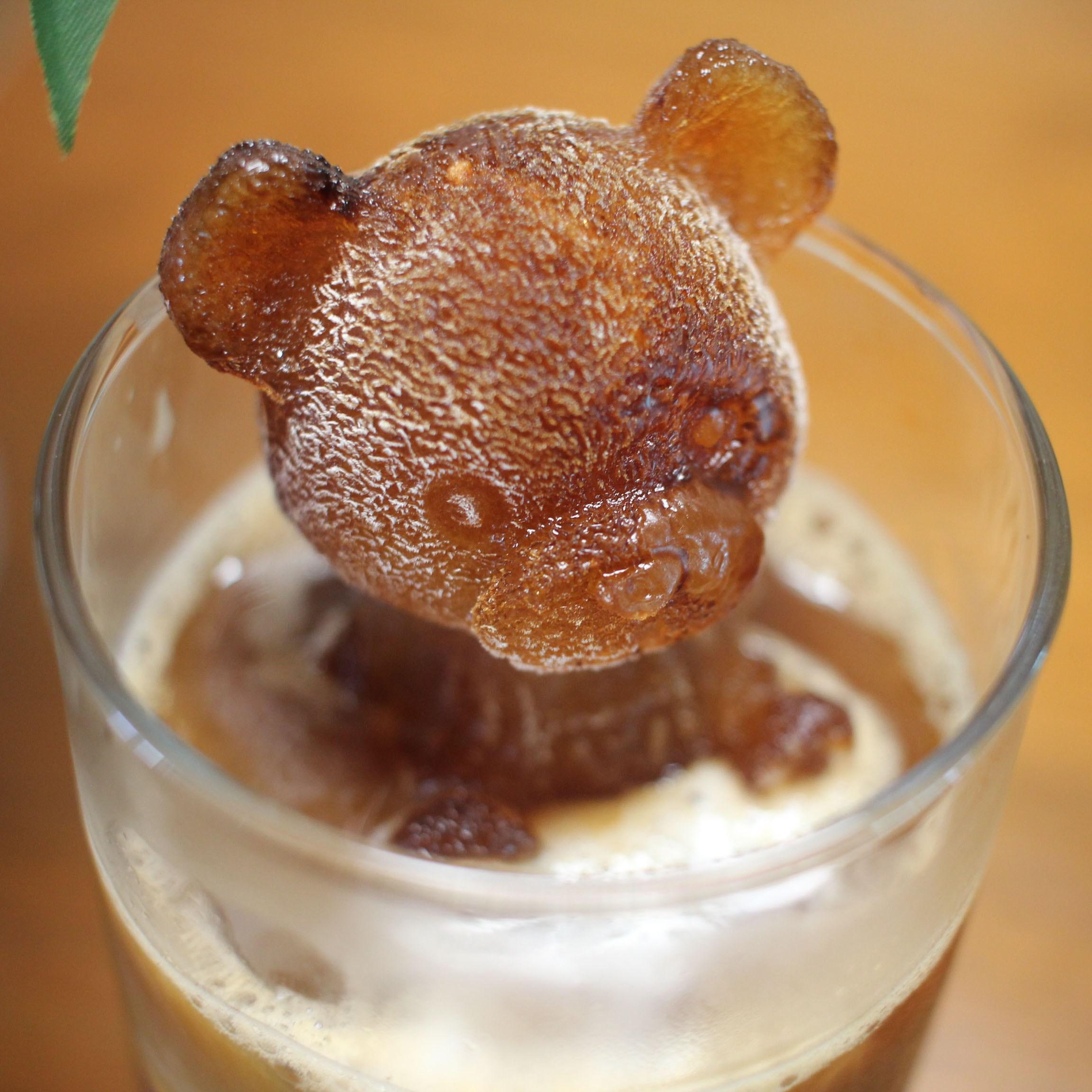 우리홈카페 곰돌이 캐릭터 동물 모양 얼음틀 실리콘 몰드 3개입, 화이트