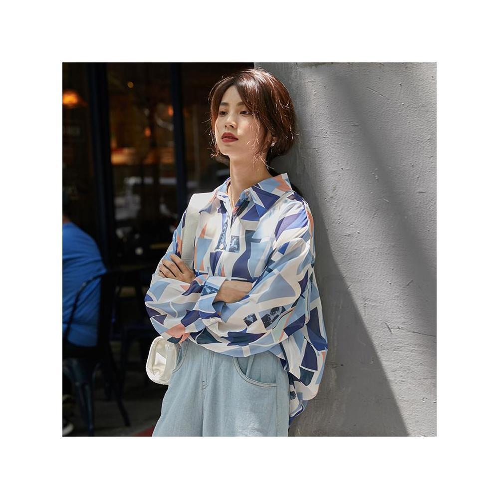 알지구 썸머 블라우스 실제 촬영 틈새 시장 쉬폰 셔츠 여성 한국어 새로운 디자인 감각 개성 복고풍 BF 바람 자외선 차단제 조수