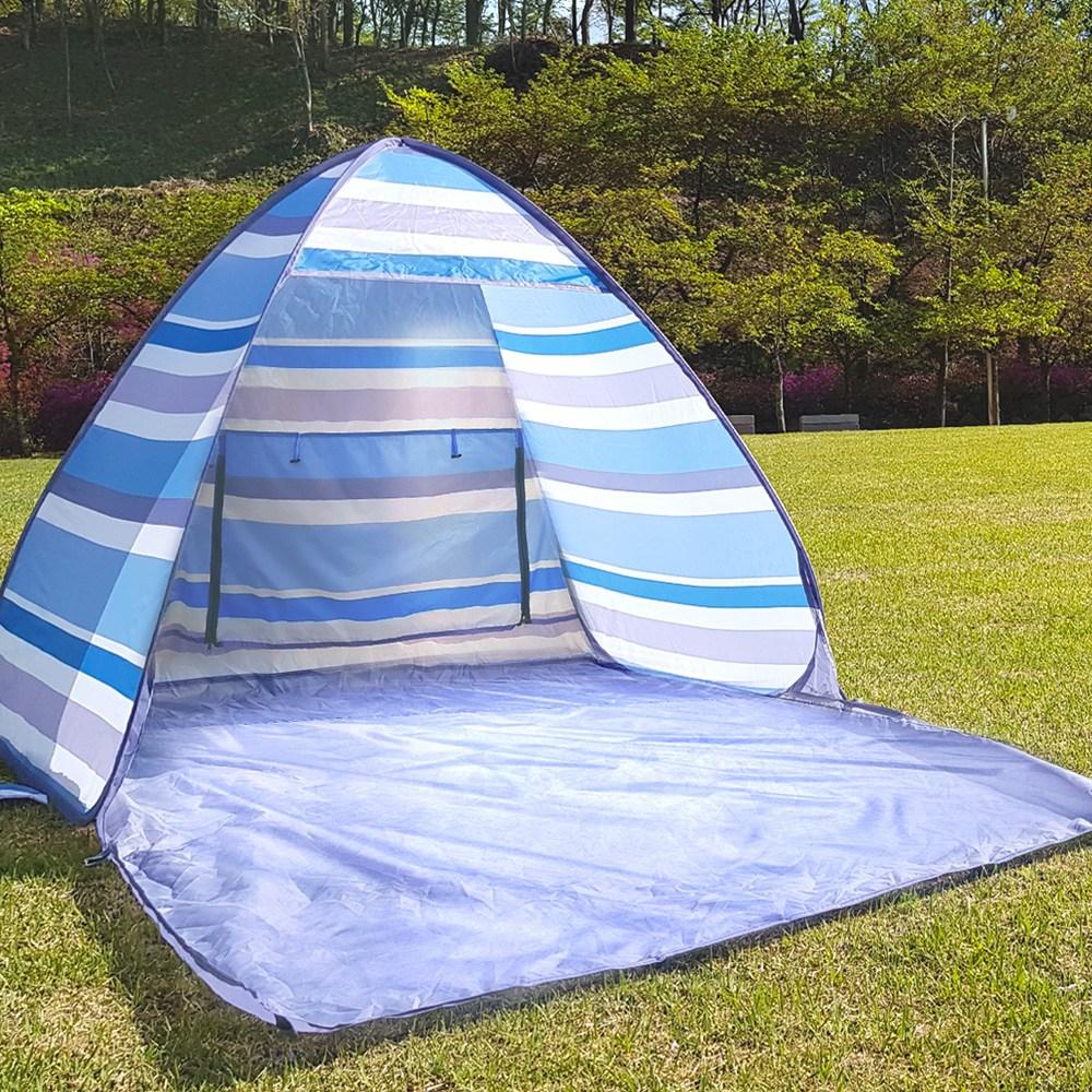 솔트 피크닉 원터치 텐트 캠핑 자동 팝업텐트, 중형(1~2인용), 비치블루(블루)
