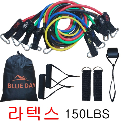 푸른하루 당일발송 홈트 밴드 150LB 5종 손잡이 도어앵거 발목 스트랩 풀 세트 튜빙 밴드