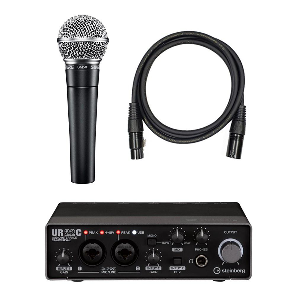 SHURE SM58 K-LC 슈어 정품 다이나믹 마이크, SM58 K-LC 다이나믹 마이크 + 오디오 인터페이스 ur22c 패키지