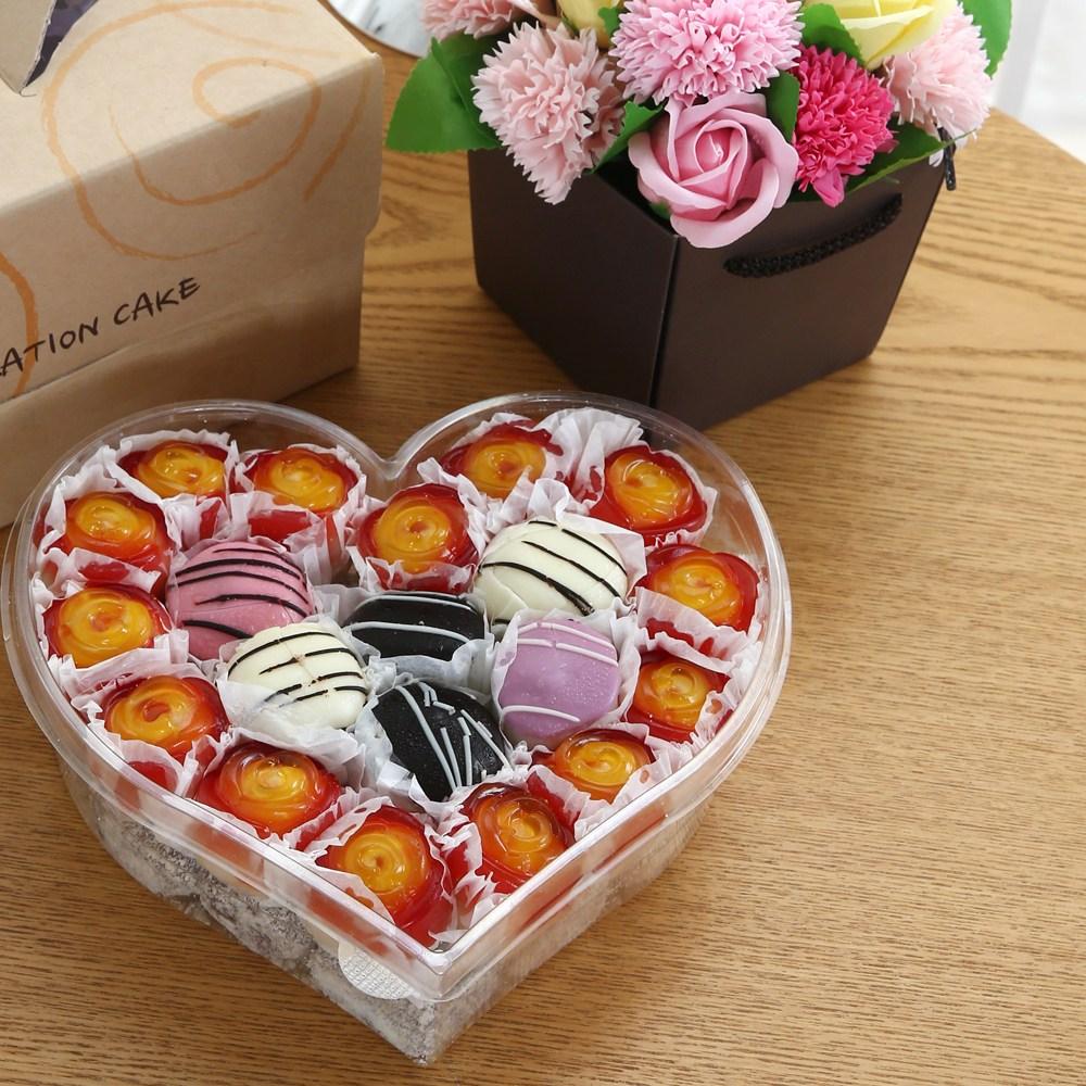 엠케이크 Special 떡케이크&꽃다발 선물세트 3호하트형, 1750g, 1개