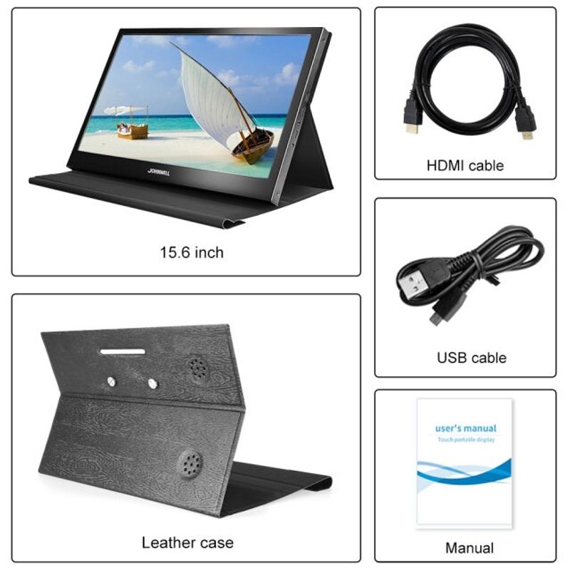 라미무역 해외배송 15.6 인치 휴대용 터치 PC 모니터 IPS1920 1080 PS4 Xbox360 스위치 용 듀얼 미니 HDMI 포트 모니터 라즈베리 파이 샤오 미, 협력사, 15.6 1080P 터치 없음 (POP 5691756002)