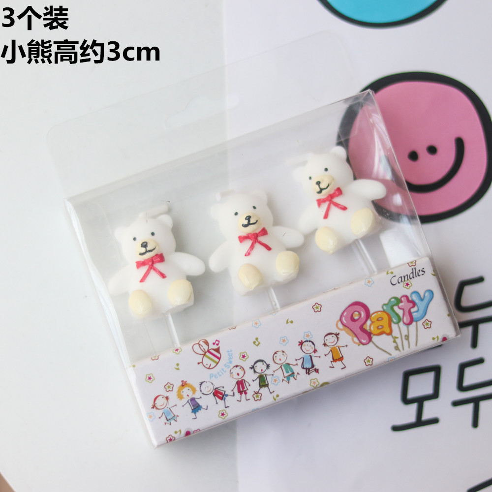 흰색 곰돌이 초 주문케이크 베이커리 장식 캐릭터 양초, 화이트베어 3개