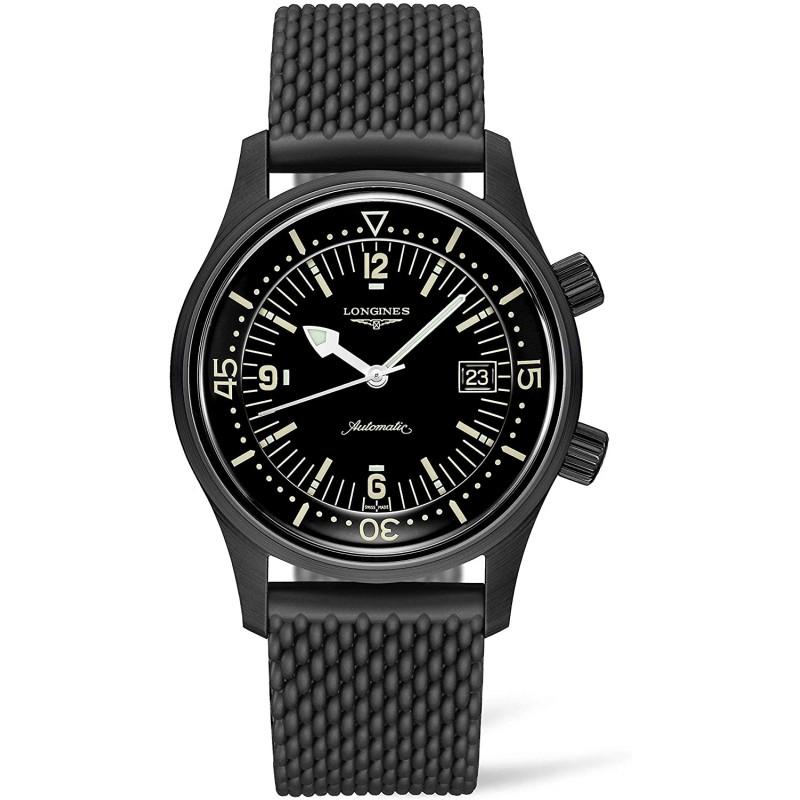 [론진 남성시계] [론진]손목 시계 론진 레전드 다이버 자동 내둘러블랙 PVD L3.774.2.50.9남성 정규 수입