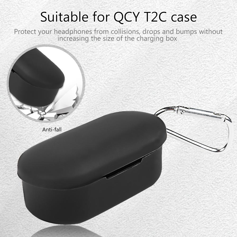 Qcy t2c 보호용 풀 커버 케이스 용 무선 이어폰 qcy t2c 케이스 용 실리콘 커버 qcy 용 방진 보호 장치, 단일, LVORY