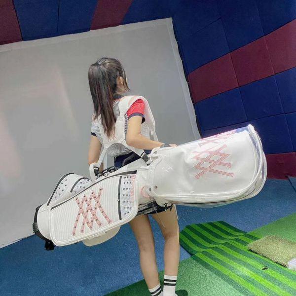 파리게이츠 캐디백 여자 골프백 바퀴 여성 골프가방 pearlygates 스탠드 방수 아내 선물 여름 제주도, 화이트과블랙색핑크색-10-5809612846