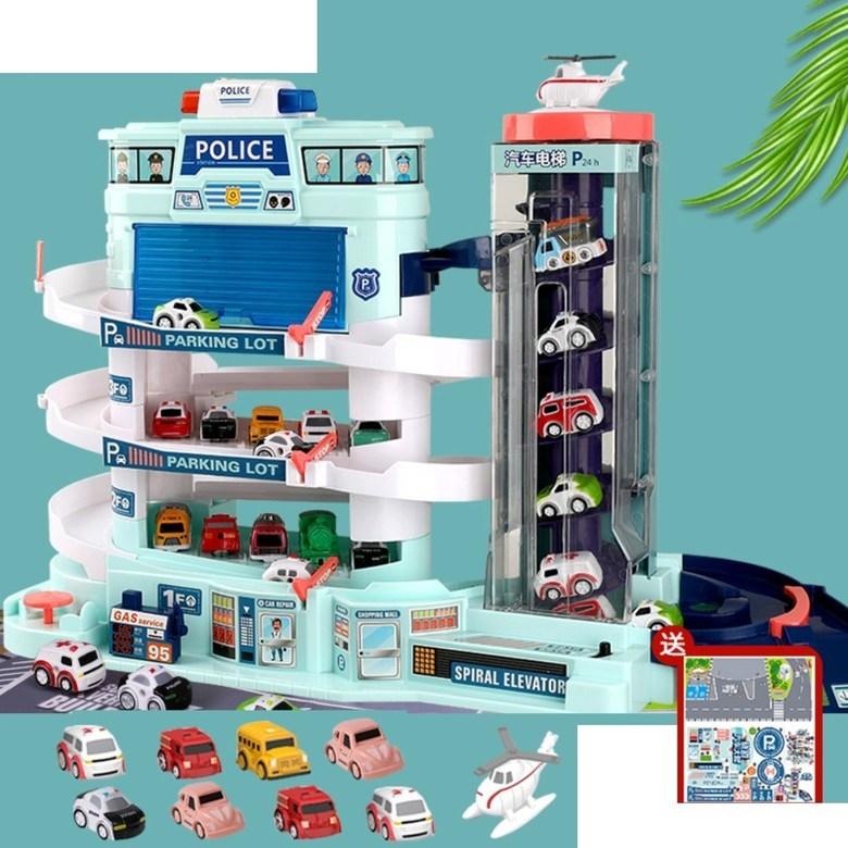 5층 대형 장난감 주차 타워 자동 엘리베이터 전동 컨트롤 작동 선물 서프라이즈 휴대폰 끊는법, 오버사이즈 경찰주차장+LED+차8+비행기1