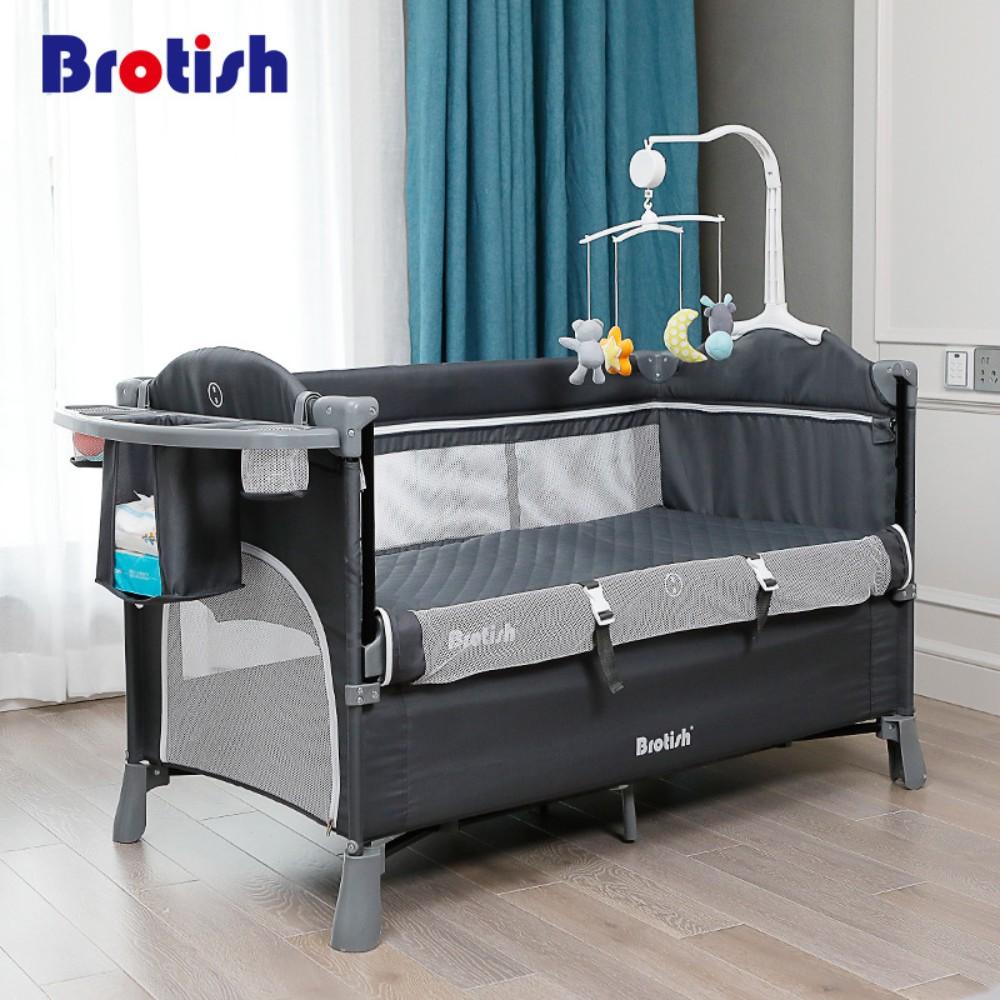 BROTISH 이동식 접이식 아기침대, 다크그레이