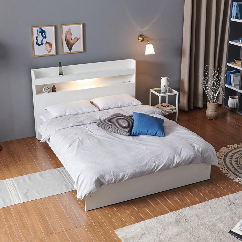 크렌시아 아너스 LED 일반형 슈퍼싱글 침대 SS+본넬 매트리스+방수커버, 화이트