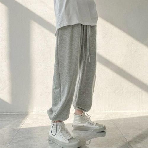 패션 솔리드 컬러 Drawstring 스웨트 팬츠 남자 빈티지 헐렁한 캐주얼 느슨한 바지 남성 조깅 Streetwear