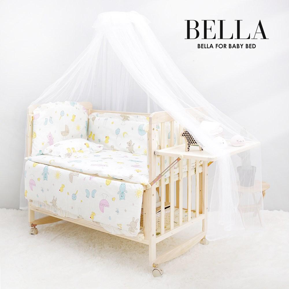 JK스토어 벨라 베이비 원목아기침대 아기침대+3가지 사은품, 아기침대+쁘띠베베코지 범퍼
