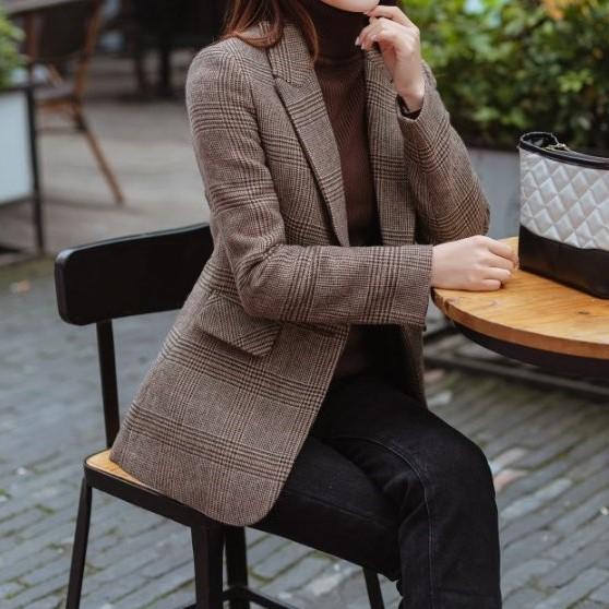 원투쇼핑 가을 두꺼운 슬림핏 울 체크무늬자켓
