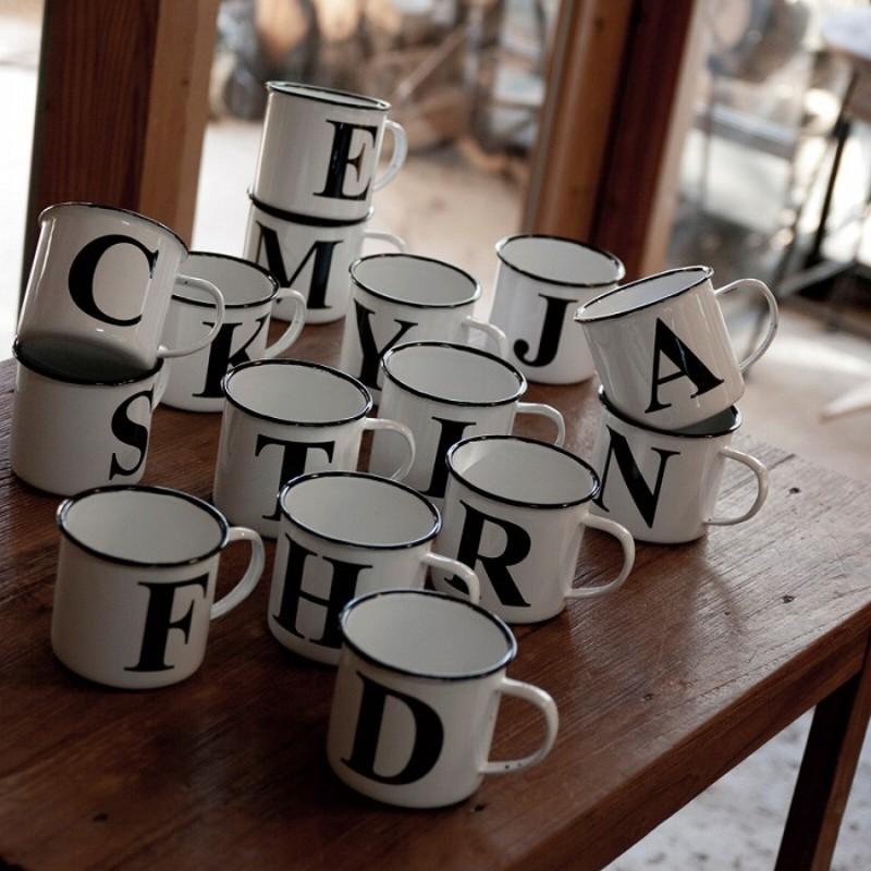 빈티지 알파벳 법랑머그 법랑컵 커플머그, 편지 N