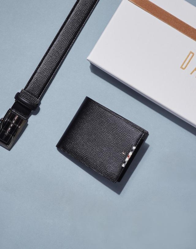 21SS [DAKS GIFT] 블랙 가죽 사이드 체크 지갑 벨트 세트 DBWA1E979BK