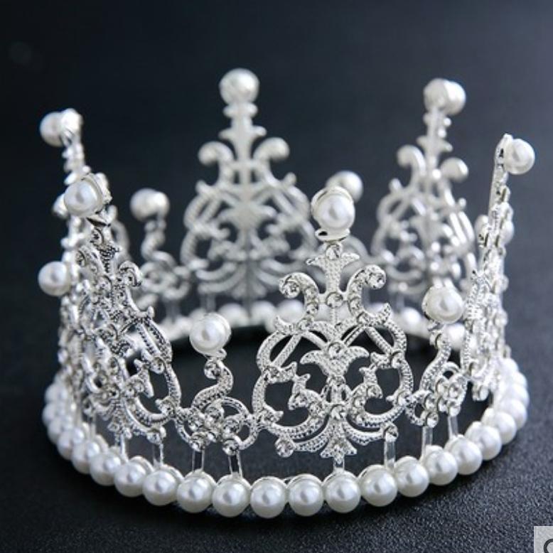 티아라 왕관 케이크 셀프웨딩 브라이덜샤워 생일 파티 진주 토퍼 프로포즈 머리띠, 진주티아라