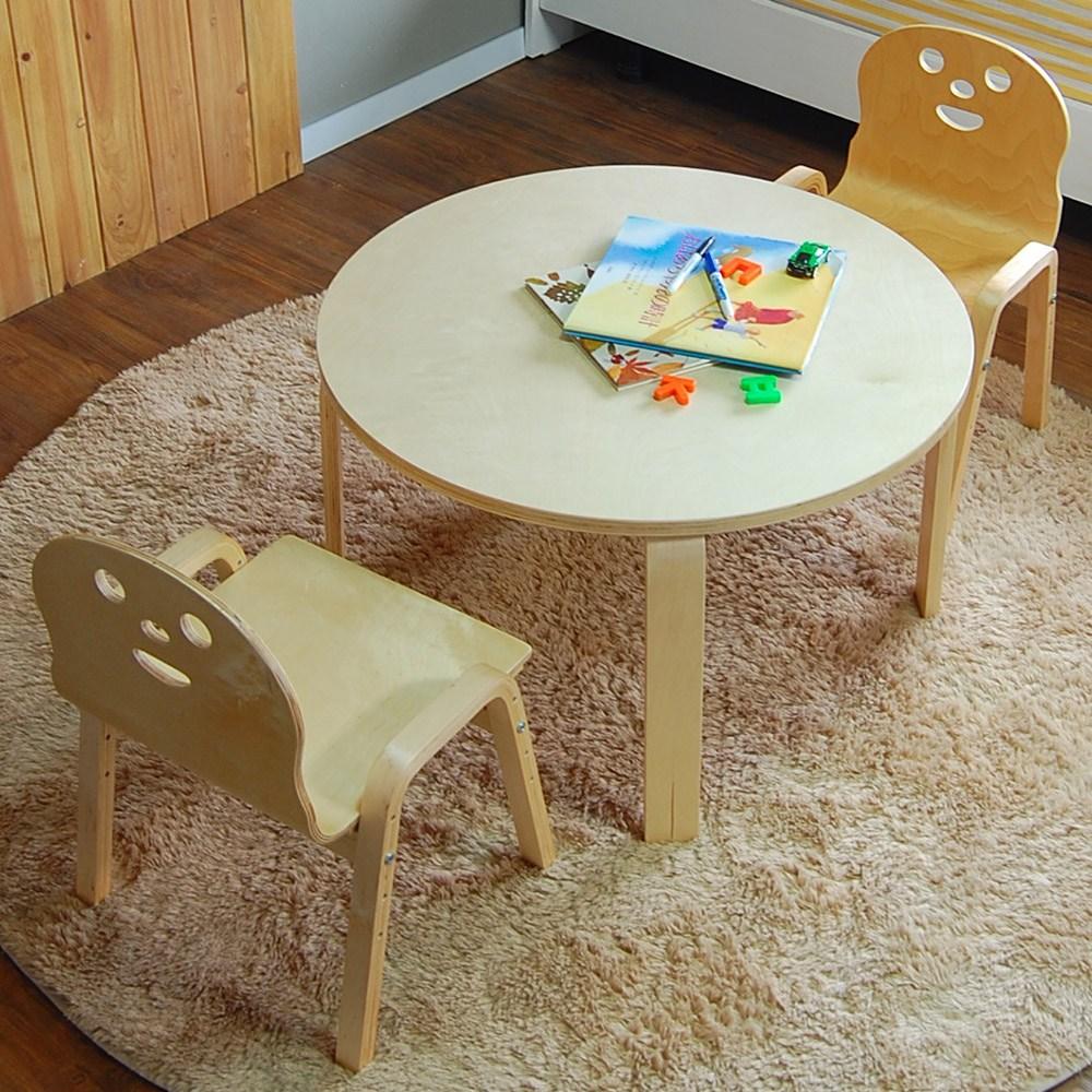 토리 원목 유아 오리지널의자 원형 책상세트 2-7세, 유아 원형 내추럴 책상 / 오리지널의자 내추럴 2개