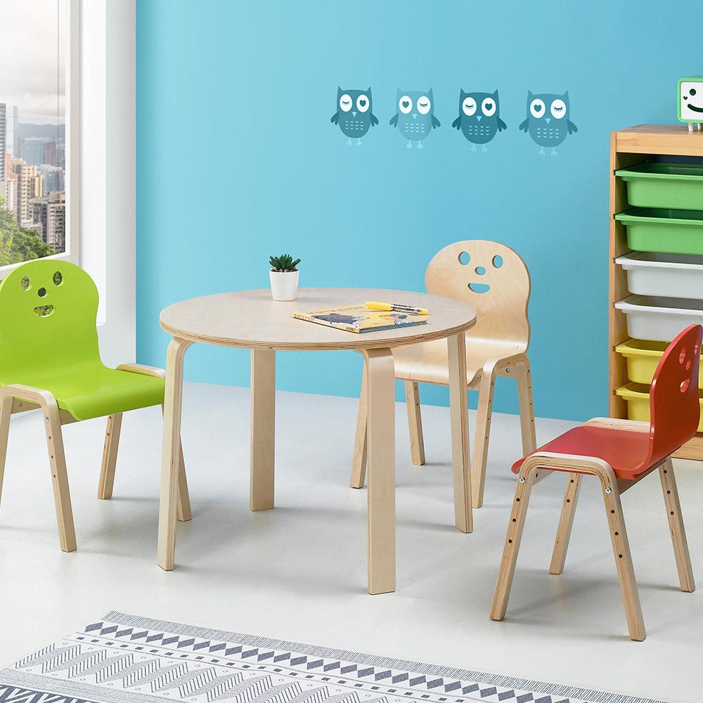 토리 원목 초등 신형의자 원형 책상세트 8-10세, 초등 원형 분홍 책상 / 신형의자 연두 2개