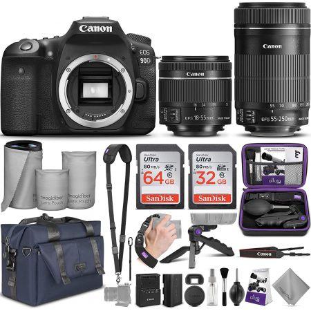 [아마존베스트]Canon EOS 90D DSLR Camera and Canon EF-S 18-55mm f3.5-5.6 is STM + EF-S 55-250mm f4-5, One Color_One Size