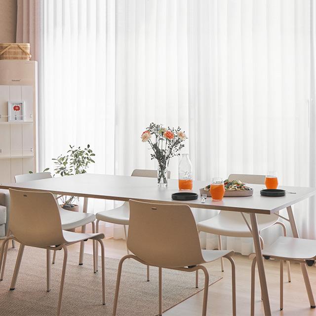 데스커 6인 식탁 세트 (의자포함), 화이트+화이트