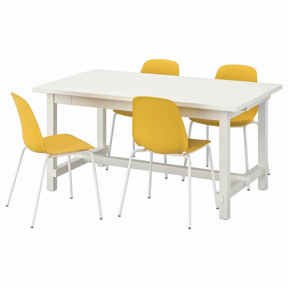테이블+의자4 화이트 브로링에 화이트 NORDVIKEN LEIFARNE 152 223x95 cm, 기본