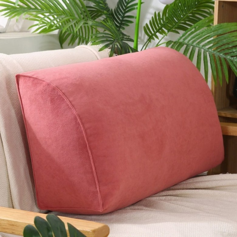 쇼파 침실 대형 등쿠션 푹신하고 사이즈가큰 푹신한 삼각 사각 요추베게 기숙사 침대 거실 임산부 등받이쿠션, 70x35x17(진주면+코트) + 팥앙금 (POP 5890299522)