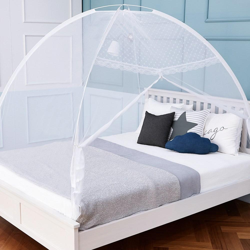 에코샵 모기장 텐트형 침대겸용 원터치모기장 +보관가방, 화이트 모던