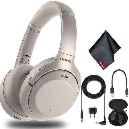 헤드셋 Sony WH-1000XM3 Wireless Noise-Canceling Over-Ear Headphones (Silver) with Cleaning Cloth PR, 상세 설명 참조0, Silver