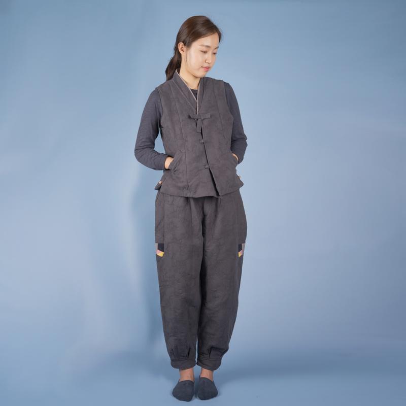 여자-매화 패딩 조끼바지 생활한복(겨울절복)