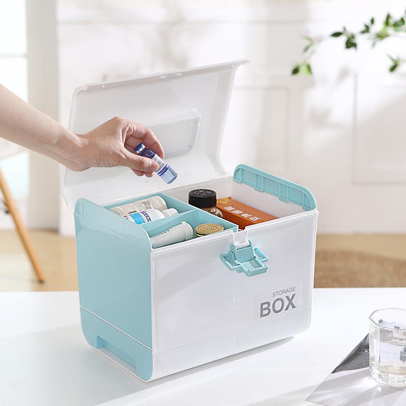 가정용 심플 간편 실용적인 약보관함 구급함 구급상자 응급키트 다이소약통X, 핑크