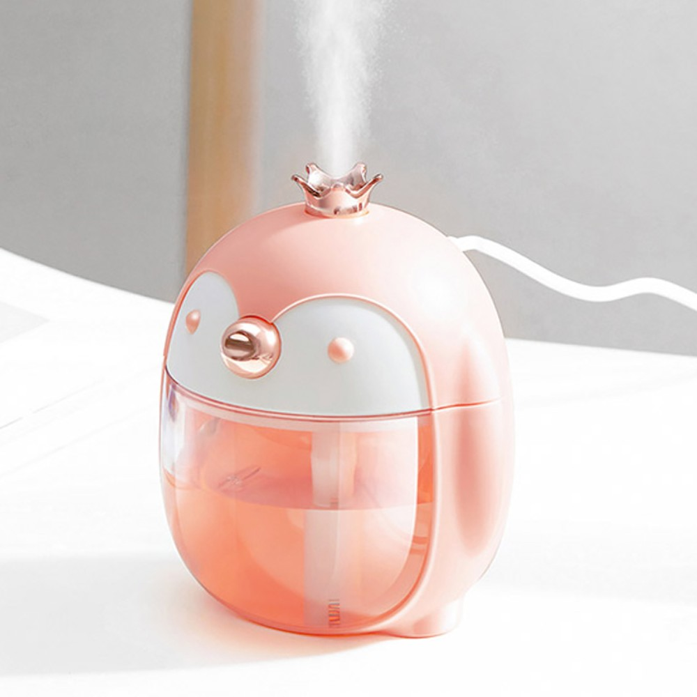 큐티 펭수 펭귄 미니 소형 휴대용 가습기 무드등 300ML, 펭귄 가습기 핑크