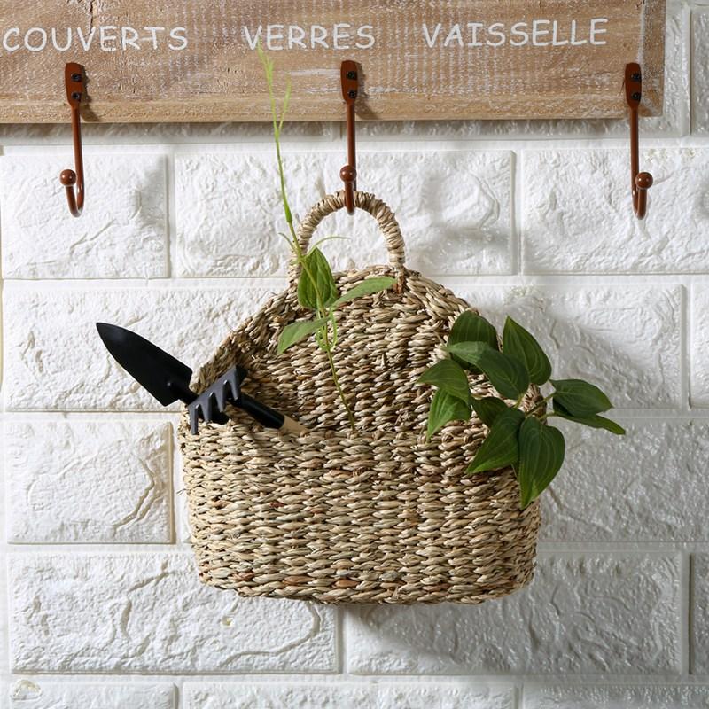 벽걸이 라탄 바구니 라탄 공예 수납 인테리어소품, 단일상품