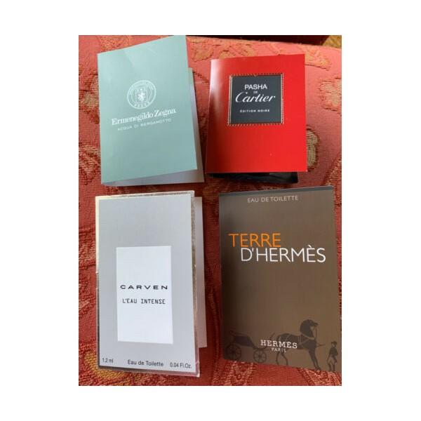 Cartier Hermes Carven Zegna Eau De Toilette EDT Lot Of 4 Samples Travel