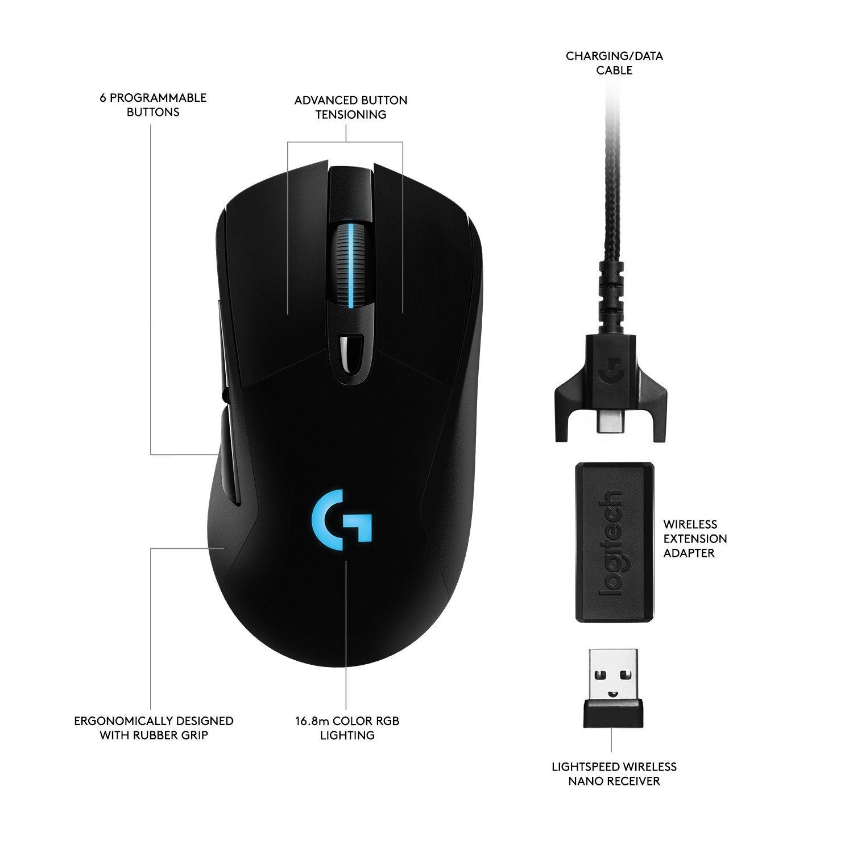 로지텍 G703 LIGHTSPEED Gaming Mouse, 블랙색상