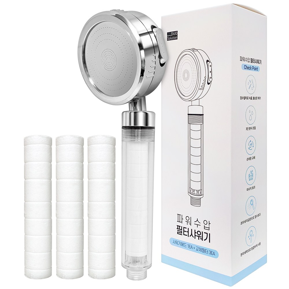 듀오솔루션 3단계 자유회전 파워수압 필터샤워기, 샤워기본품(필터1EA 포함)+필터리필 3EA