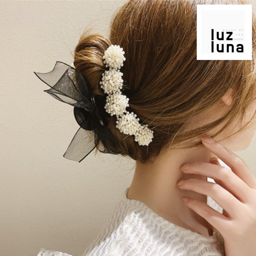 루즈루나 로맨틱 감성 한복 드레스 플라워 진주 올림머리 반머리 반묶음 집게 머리 셀프 웨딩 헤어핀